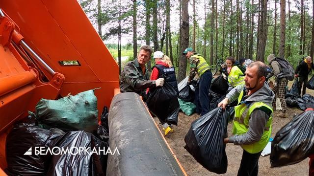 В Северодвинске сегодня убрали мусор из ягринского Соснового бора